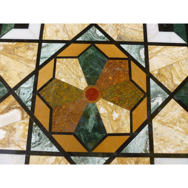 1990s Empire Stunning & Stylish Pietra Dura Inlaid Marble Table For Sale - Image 4 of 7
