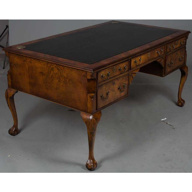 Queen Anne 1960s Red Ball And Claw Foot Writing Desk For Image