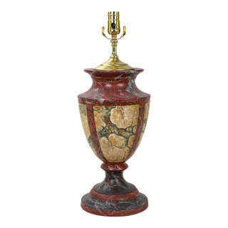 Vintage Trophy Shaped Vase Lamp Hand Painted Wood Faux Marble For Sale