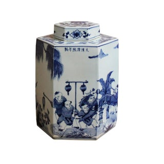 Chinese Blue & White Porcelain Oriental Scenery Hexagon Jar Container For Sale
