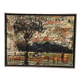 Vintage Mid-Century Framed Painting For Sale
