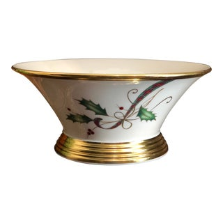 Vintage Lenox Holiday Nouveau Round Bowl With 24k Gold Accents For Sale
