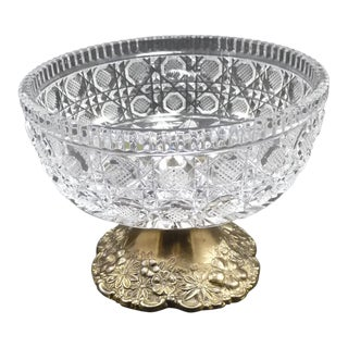 Vintage Cut Crystal Compote Dish on Metal Pedestal For Sale