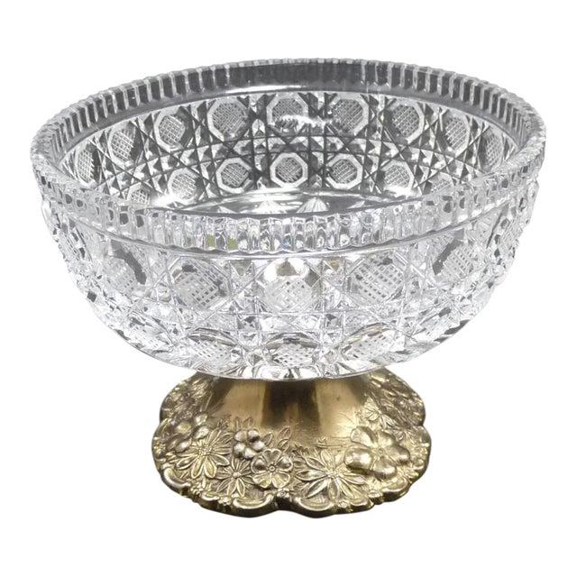 Vintage Cut Crystal Compote Dish on Metal Pedestal For Sale