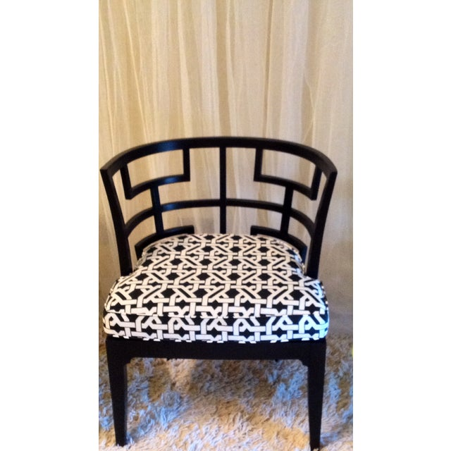 Pop of Black Barrel-Back Chairs - A Pair - Image 3 of 7