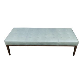 Teal Leather Cocktail Ottoman For Sale