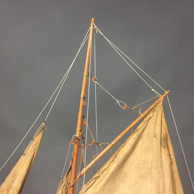 Late 19th Century Tin Pond Sailboat on Stand For Sale - Image 4 of 11