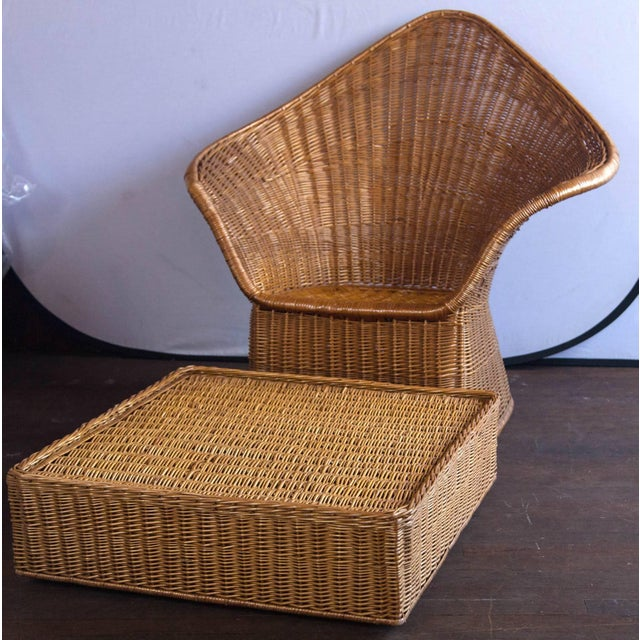 Boho Chic Vintage Mid Century Triangular Wicker/Rattan Armchair and Ottoman For Sale - Image 3 of 17