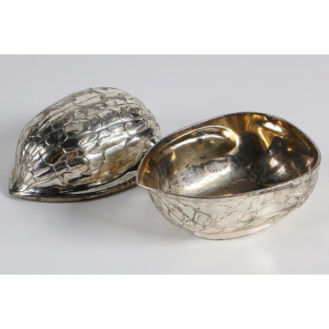 Figurative Vintage Mid-Century F.B. Rogers Silverplate Walnut Shaped Box For Sale - Image 3 of 5