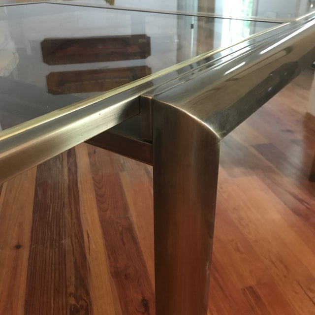 1960s Mid-Century Design Institute of America Glass & Bronzed Modern Dining Table For Sale - Image 5 of 7