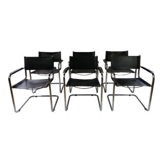 Mid Century Modern Mart Stam Cantilevered Tubular Chrome Armchairs - Set of 6 For Sale