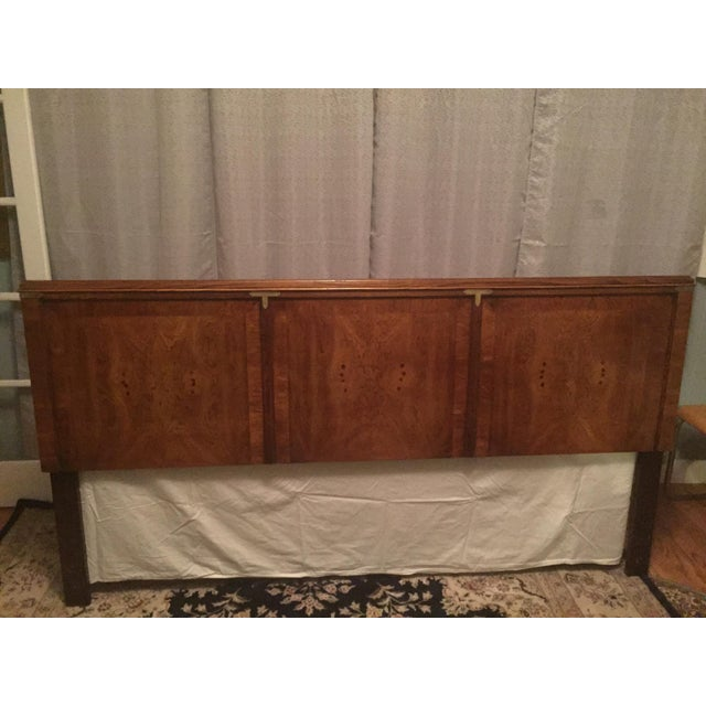 Campaign Final Markdown- Hollywood Regency Walnut Campaign King Headboard For Sale - Image 3 of 7