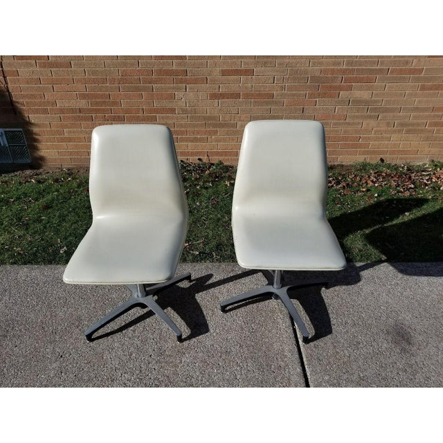 Mid-Century Modern MCM Chromcraft Vinyl Swivel Chairs - a Pair For Sale - Image 3 of 11