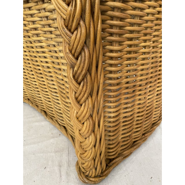 Vintage Woven Wicker Chairs With Braided Trim - a Pair For Sale - Image 12 of 13
