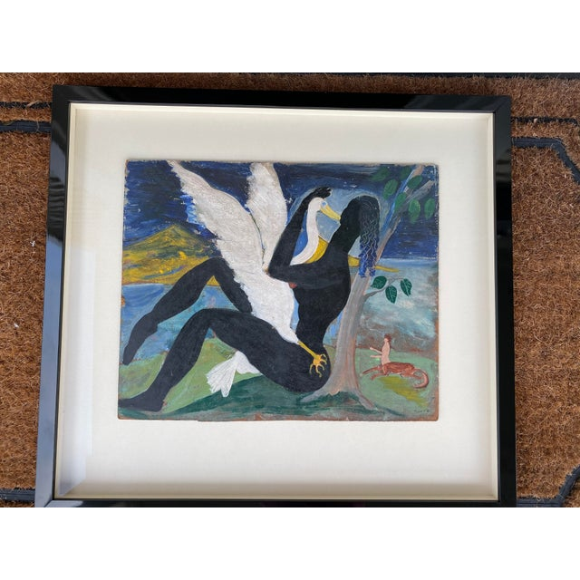 """Modern 1940s """"Leda and the Swan"""" Oil Painting by David Sinclair Nixon, Framed For Sale - Image 3 of 3"""