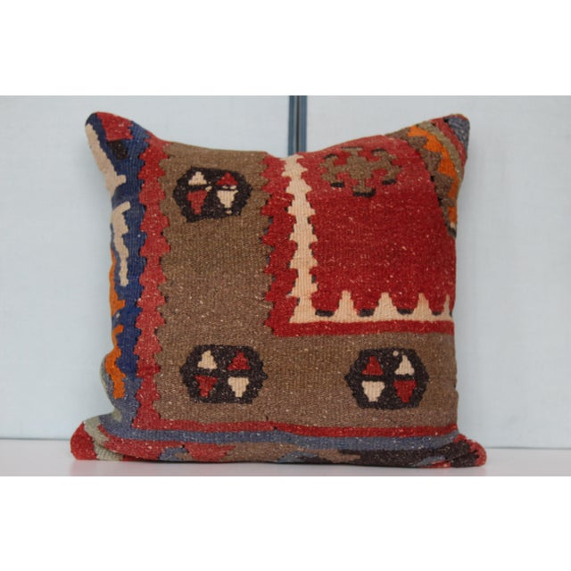 16-Inch Square Turkish Vintage Pillow Cover For Sale - Image 4 of 9