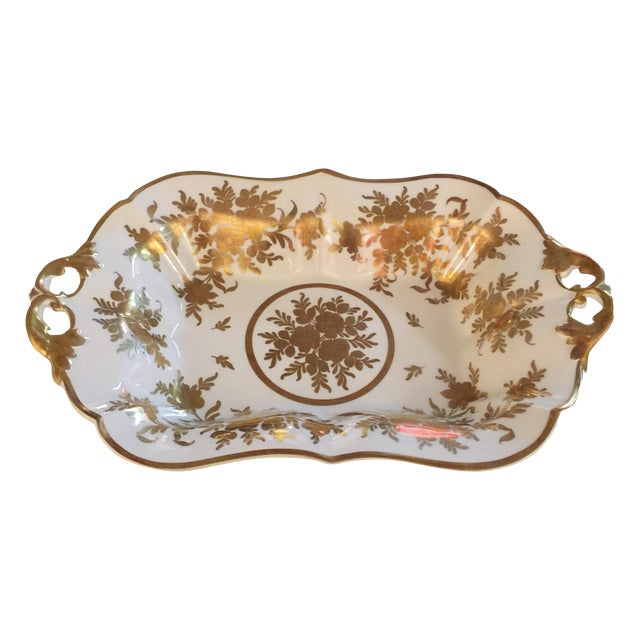 French Gold & White Porcelain Bowl For Sale