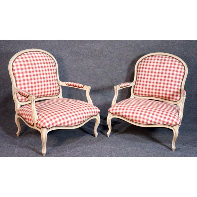 Oversized Antique Distressed Painted Louis XV Style Bergere Chairs - a Pair For Sale - Image 11 of 11