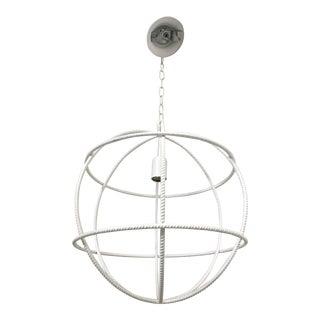 Italian Round Interlocking Spheres White Iron Pendant Light For Sale