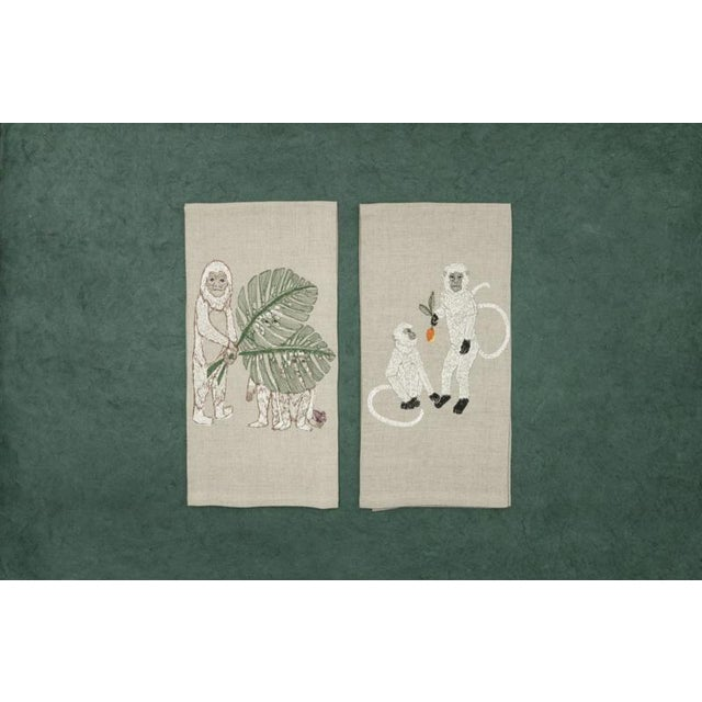 French 2010s French Ecru Linen Monkeys With Mango Tea Towel For Sale - Image 3 of 6