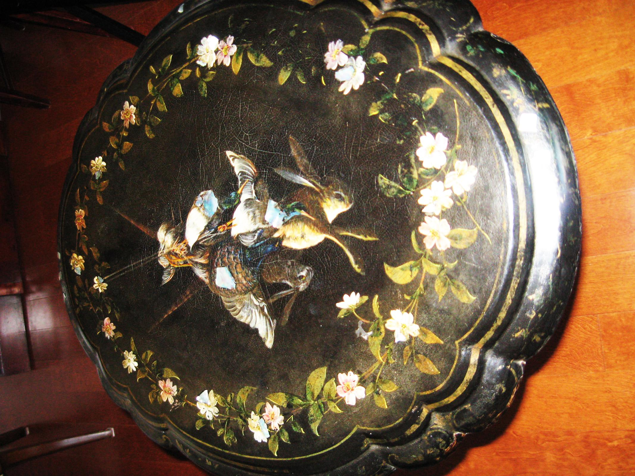 Antique Oval Mother Of Pearl Inlaid Paper Mache Tilt Top Table   Image 4 Of  6