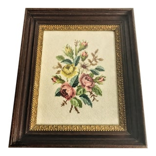 Victorian Wool Roses Needlepoint For Sale