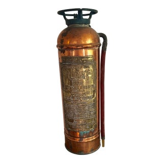 Vintage Copper Fire Extinguisher W/Hose For Sale