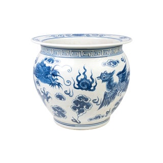 Blue and White Porcelain Dragon and Phoenix Fish Bowl For Sale