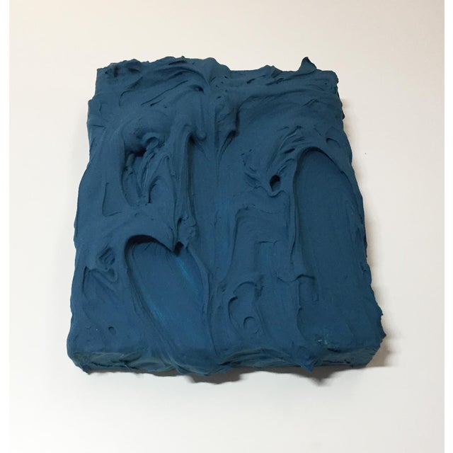 Wood Deep Teal Excess Sculptural Painting For Sale - Image 7 of 11