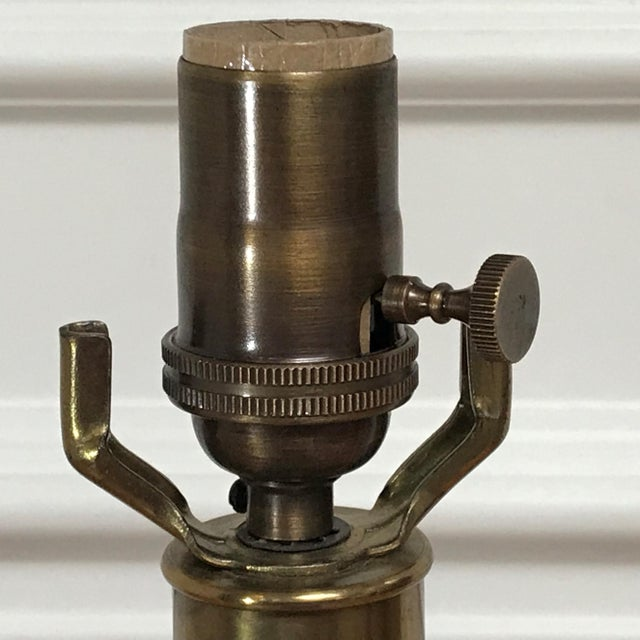 1980s Vintage Post Modern Classicism Wood & Brass Baluster Table Lamp For Sale - Image 5 of 12