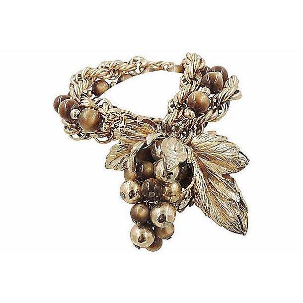 1950s Napier Brown Moonglow Grape Charm Bracelet For Sale - Image 9 of 9
