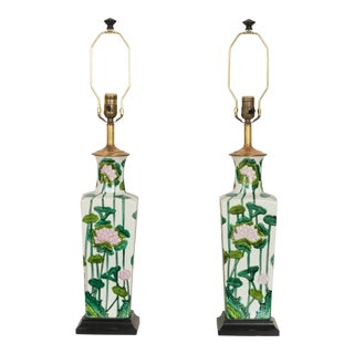 Vintage Painted Lilly Pulitzer Style Lamps - a Pair For Sale