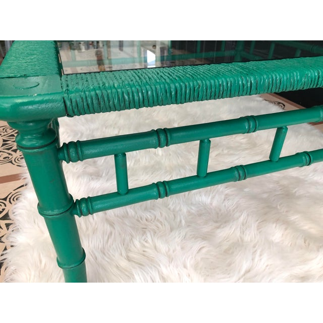 Emerald Green Bamboo Rattan Coffee Table For Sale - Image 4 of 11