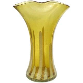 Alfredo Barbini Murano Olive Green Gold Flecks Italian Art Glass Flower Vase For Sale