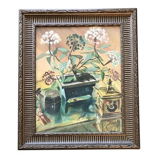 Original Vintage Watercolor Still Life Painting Bonsai Motif For Sale