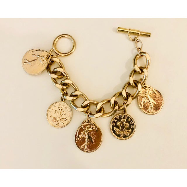 Mid-Century Modern 1980s Gold Roman Coin Charm Bracelet For Sale - Image 3 of 8