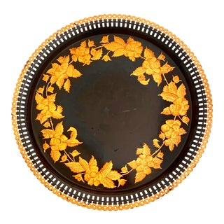 1940s Hand Painted Round Tole Serving Tray Pierced Gallery For Sale