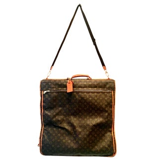 "1990s Louis Vuitton Canvas & Leather ""Lv"" Monogram Hanging Travel Garment Bag For Sale"