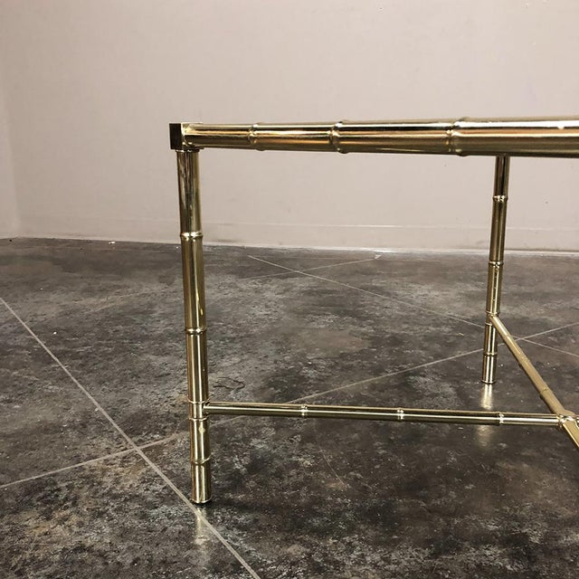 Brass Mid Century Brass Smoked Glass Top End ~ Coffee Table For Sale - Image 8 of 12