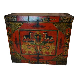 Vintage Painted Leather Tibetan Trunk For Sale