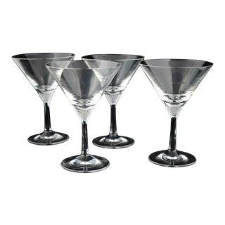 1980s Villeroy & Bosh Octavie Crystal Martini Glasses - Set of 4 For Sale