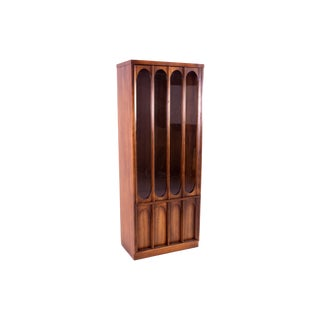 Kent Coffey Perspecta Style Brutalist Shelving Wall Unit Room Divider China Cabinet For Sale