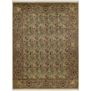 Abusson Pak-Persian Fern Tan/Red Wool Rug -9'0 X 12'0
