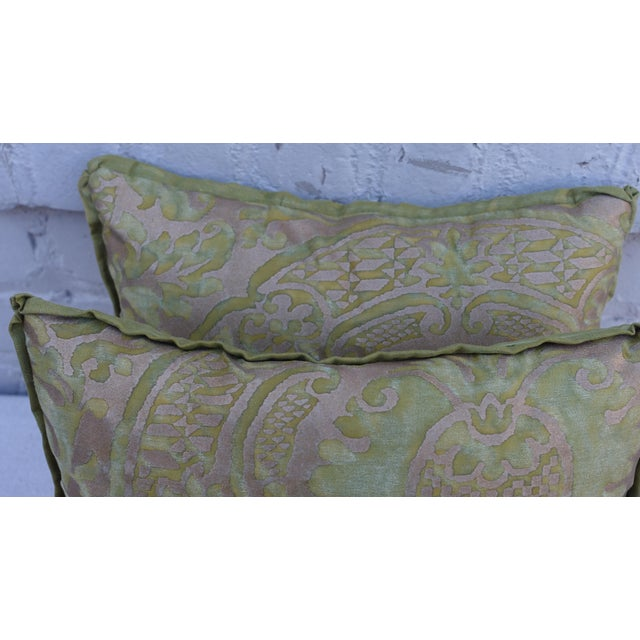 Green and Gold Fortuny Textile Pillows - A Pair - Image 3 of 4