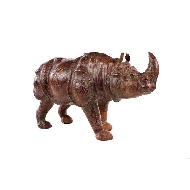"Vintage 29"" Leather Rhinoceros sculpture size 15 x 29"""