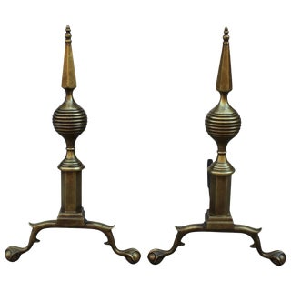 1940s Art Deco Brass Andirons For Sale