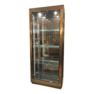 1970s Mastercraft Brass and Black Lacquer Curio Display Cabinet For Sale
