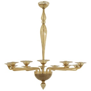 1940s Style Italian Venetian Murano Modern Oval Shaped Amber Glass Chandelier For Sale