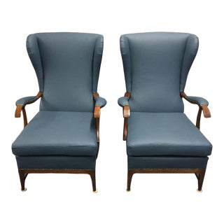 Upholstered Leather Wingback Lounge Chairs by Paolo Buffa- A Pair For Sale