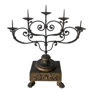18th Century Italian Hand-Forged Candelabra For Sale